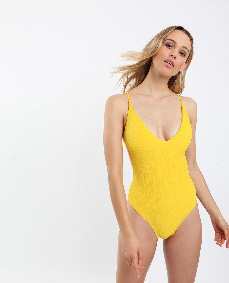 Costume da bagno intero con schiena scoperta giallo
