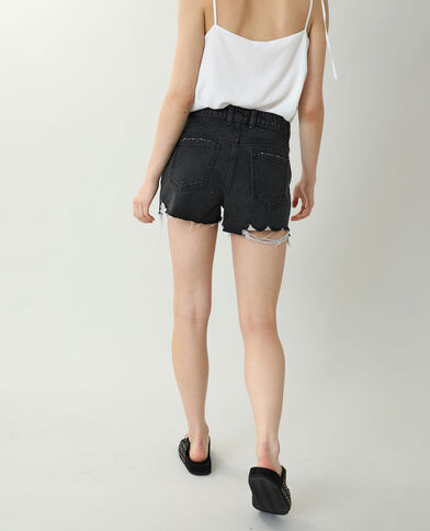 Short di jeans high waist destroy nero