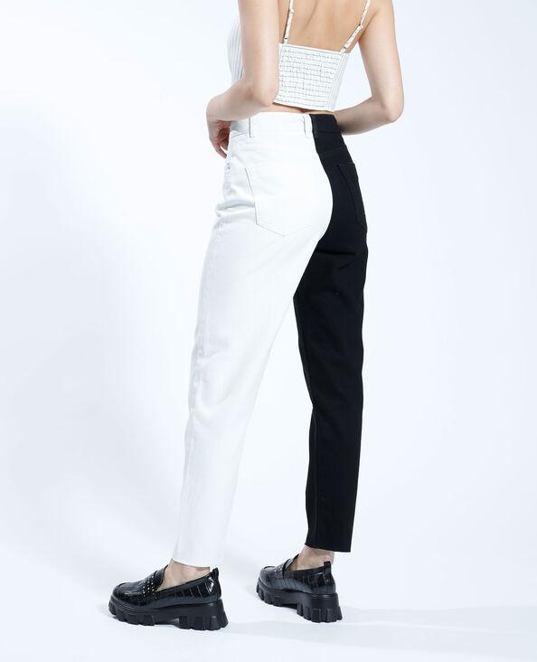 Jeans mom high waist bicolore nero - Pimkie