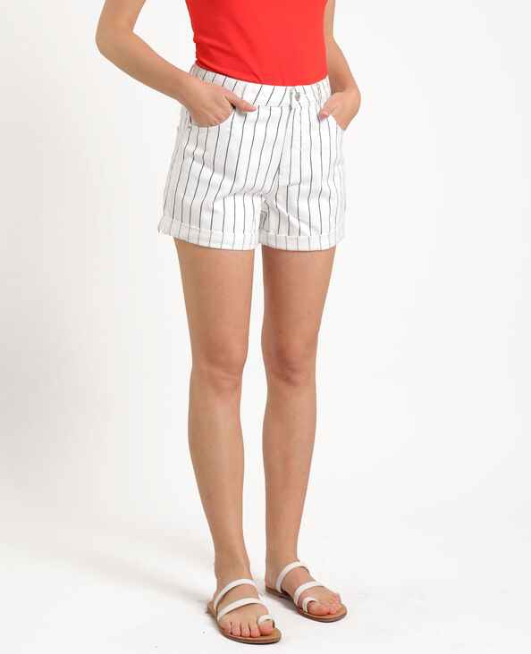 Short in jeans a righe bianco