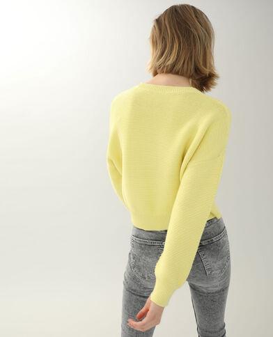Pull in maglia con rilievo giallo pallido