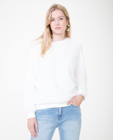 Felpa in pelliccia ecologica bianco sporco