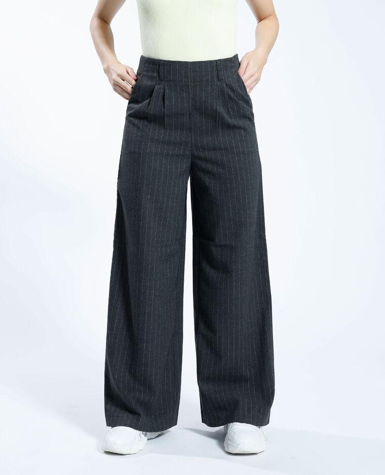 Pantalone largo a righe grigio chiné - Pimkie