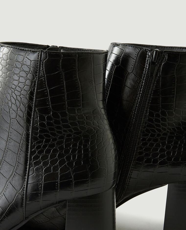 Stivaletti con tacco effetto coccodrillo nero - Pimkie