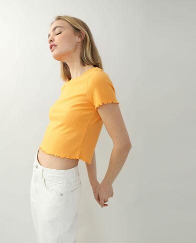 T-Shirt a coste con volant arancio
