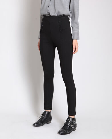 Treggings con bottoni nero