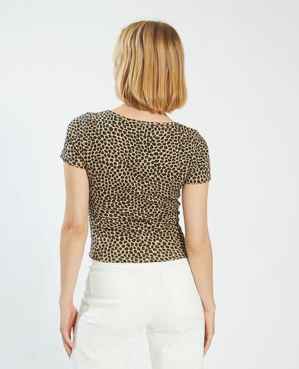 T-shirt con bottoni leopardata beige - Pimkie