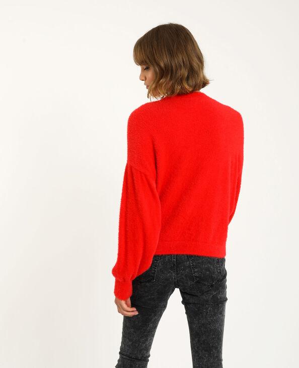 Cardigan con bottoni brillanti rosso