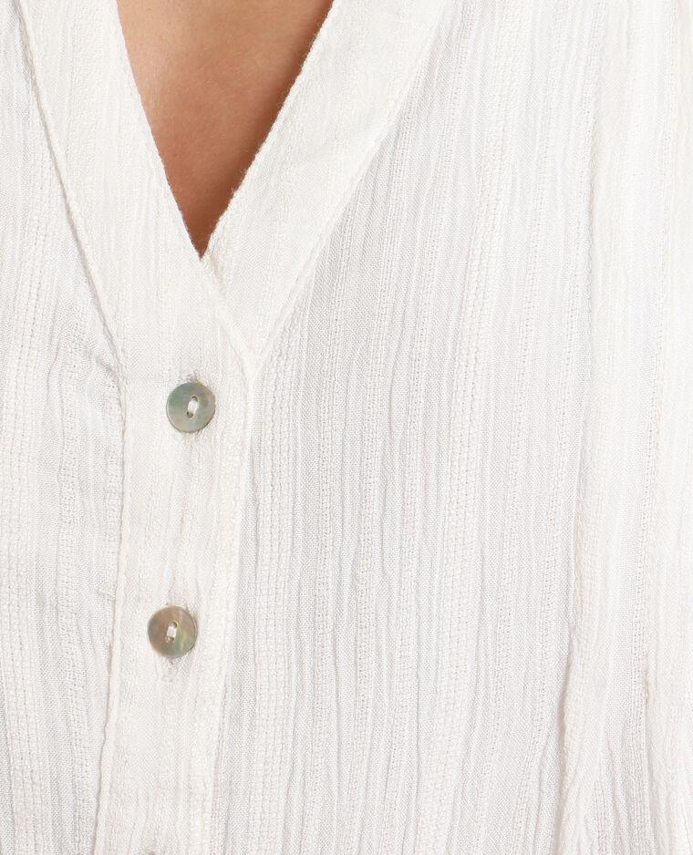 Camicia con collo a V bianco sporco
