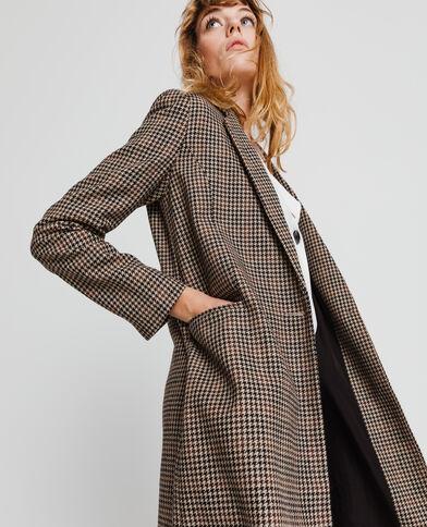 Cappotto dritto stampato marrone