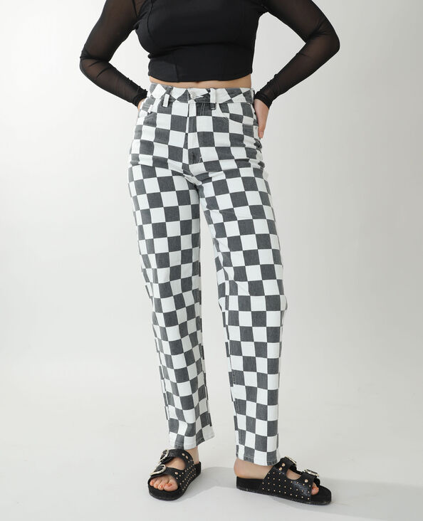 Jeans straight high waist a scacchi nero