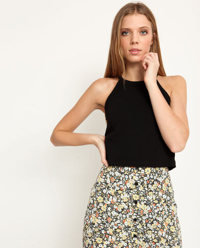 Top cropped tinta unita nero