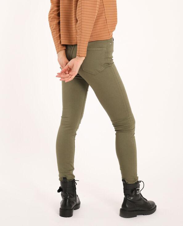 Pantalone skinny high waist kaki