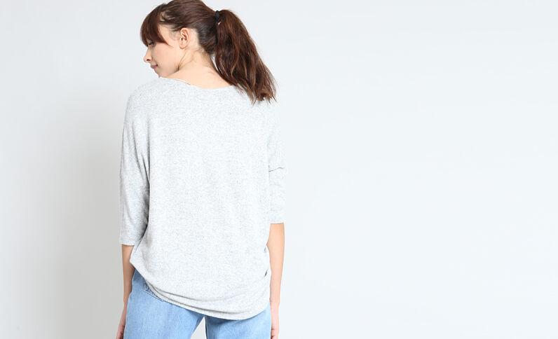T-shirt con ricami grigio perla