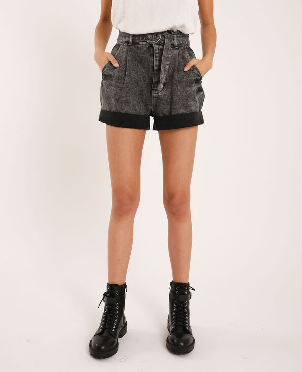 Short di jeans acid wash grigio