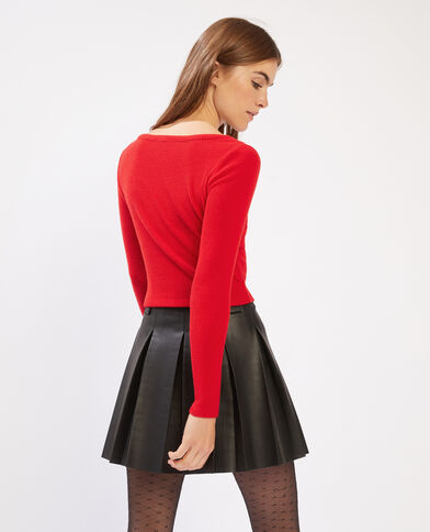 T-shirt a coste cropped rosso - Pimkie