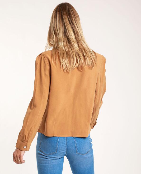 Camicia dritta cammello