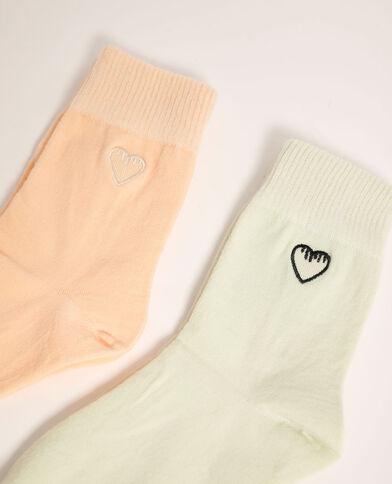Lotto di 2 paia di calzini con cuori arancio - Pimkie
