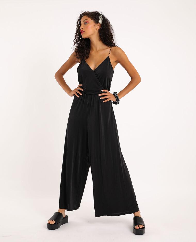 Abito pantalone con spalline sottili nero