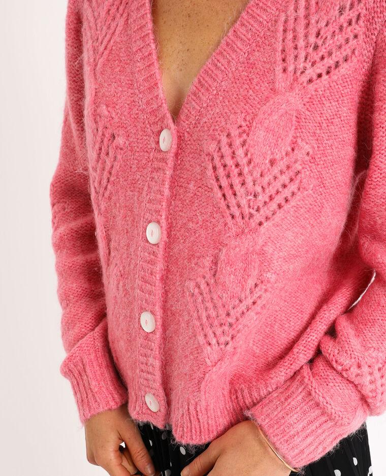 Cardigan intrecciato rosa