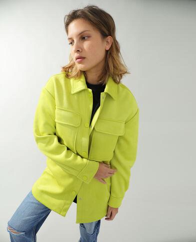 Giacca camicia effetto pelle scamosciata con frange giallo fluo