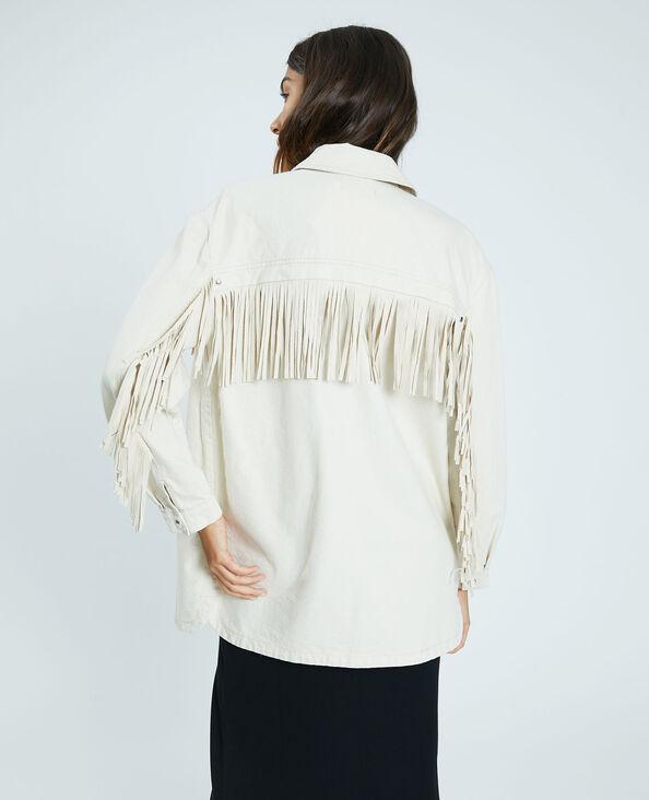 Giacca camicia con frange beige - Pimkie