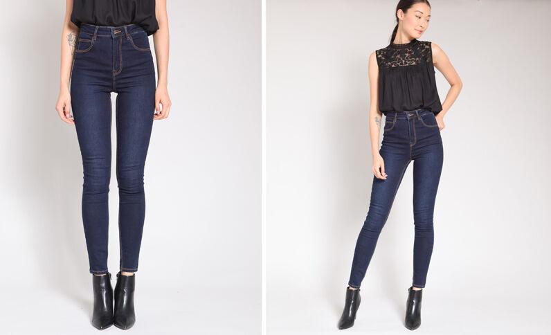 Jeans skinny a vita alta blu