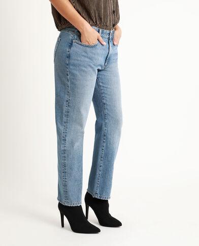 Jeans dritto mid waist blu grezzo