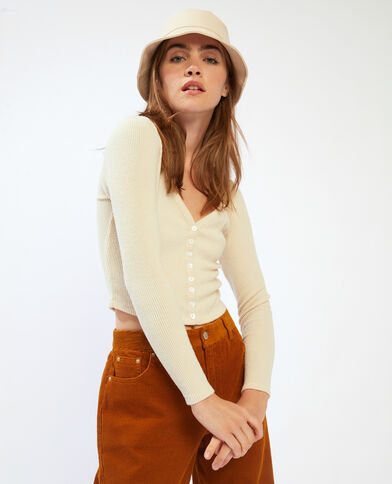 T-shirt a coste cropped beige - Pimkie