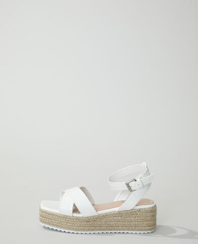 Sandali con zeppa coccodrillo bianco - Pimkie
