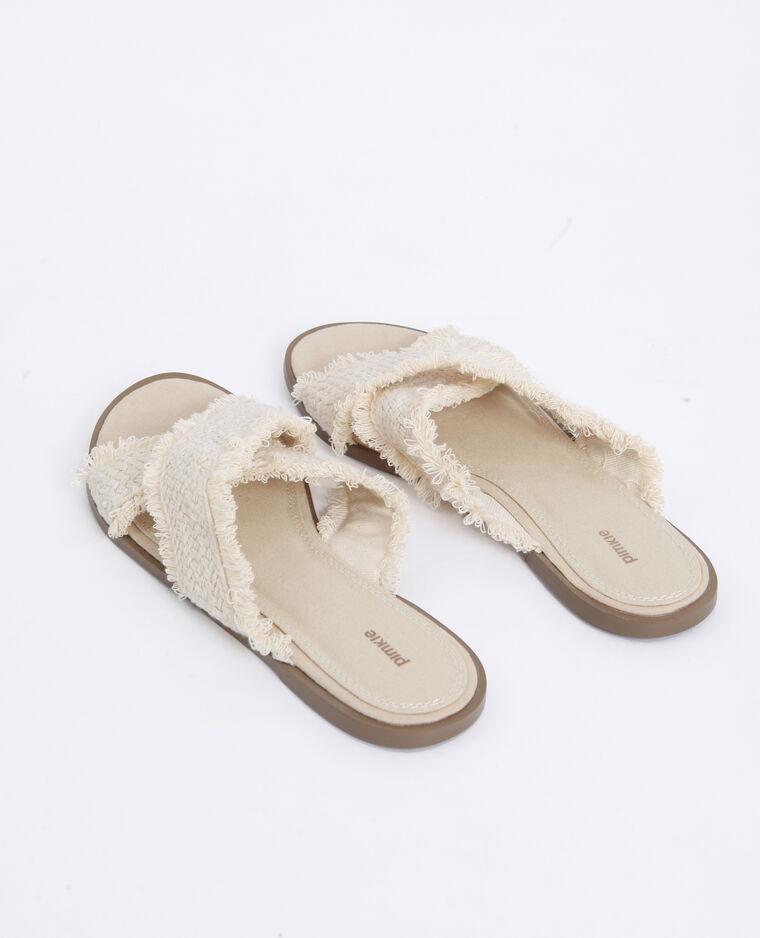 Sandali in tessuto beige corda