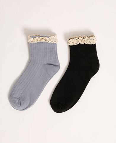Lotto di 2 paia di calzini con dettaglio all'uncinetto blu - Pimkie