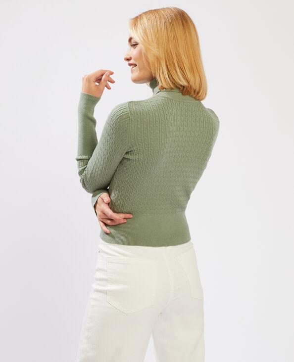 Pull con collo dolcevita e motivi a intreccio verde - Pimkie