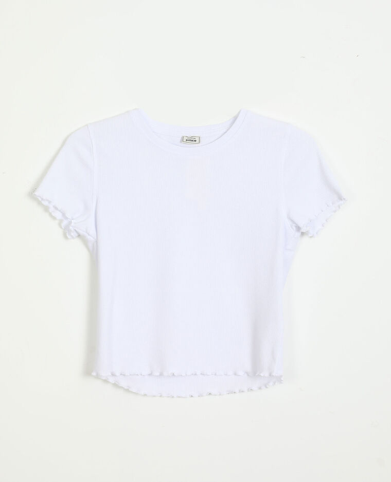 T-Shirt a coste con volant bianco