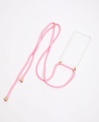 Custodia con cordino compatibile con iPhone rosa