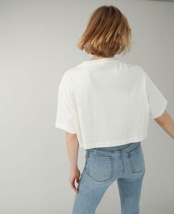 T-shirt cropped bianco sporco - Pimkie