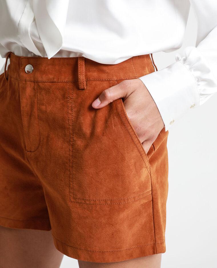Short effetto pelle scamosciata marrone