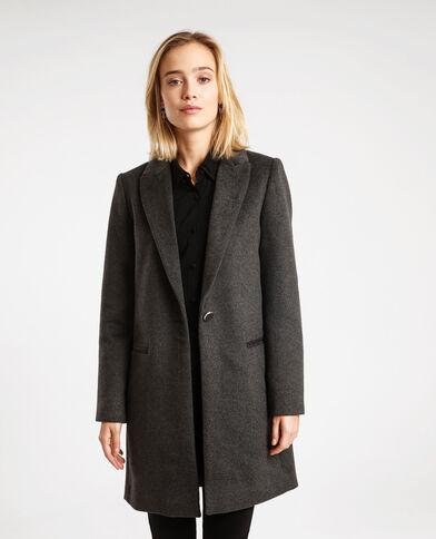Cappotto in panno di lana dritto. grigio antracite