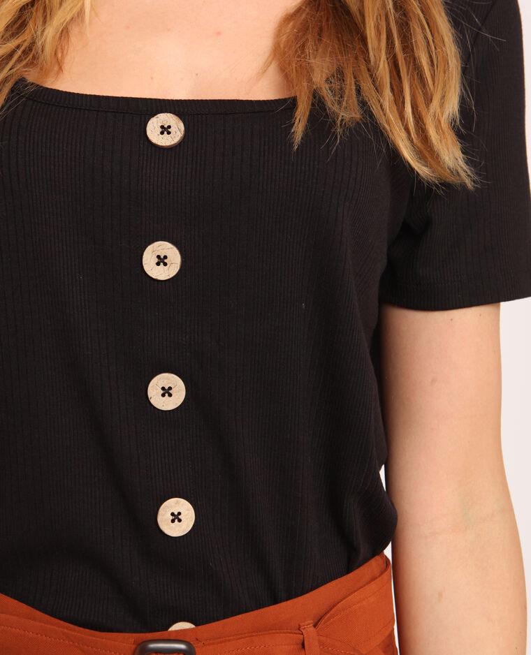 T-shirt con bottoni nero