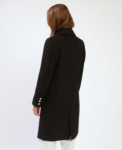Cappotto in panno di lana aderente nero - Pimkie