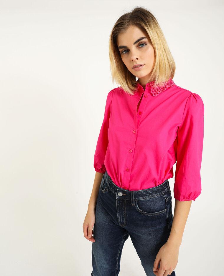 Camicia con collo in pizzo rosa fucsia - Pimkie