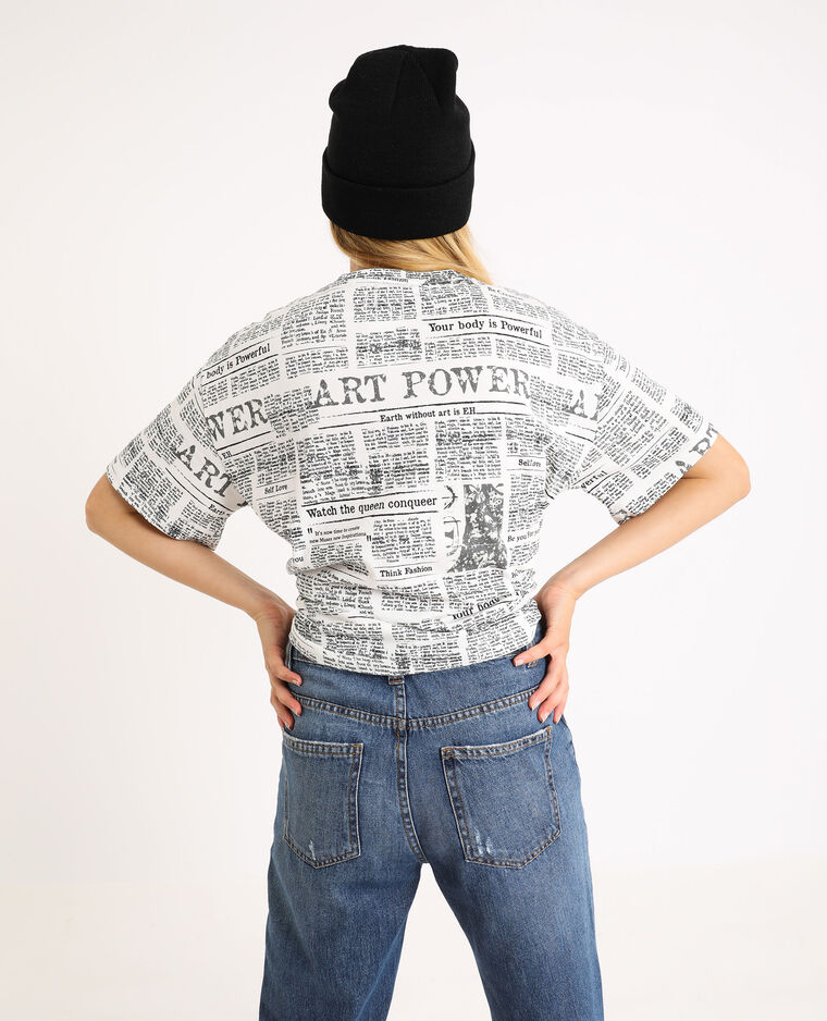 T-shirt stampata écru