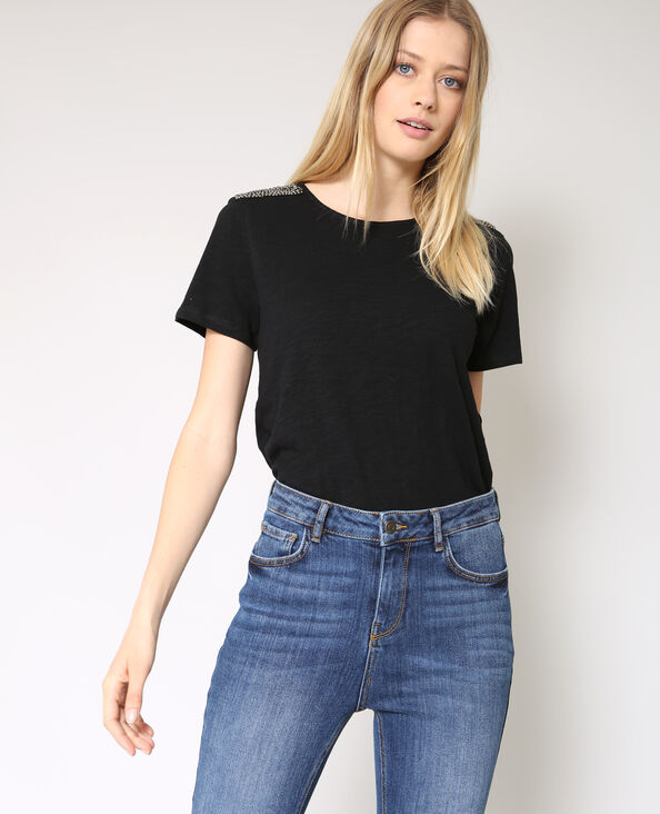 T-shirt a perle nero