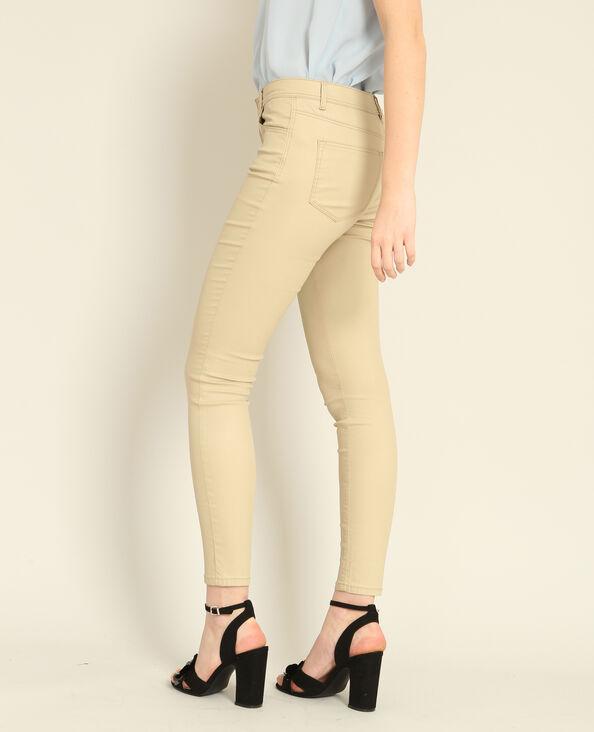Pantalone skinny spalmato beige