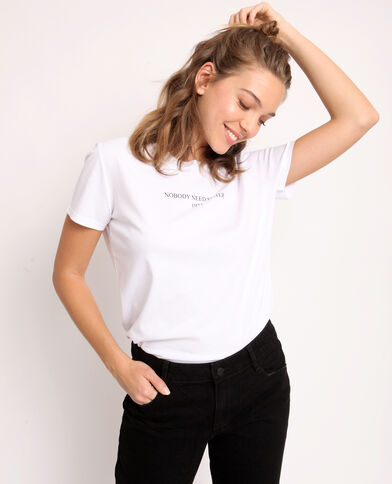 T-shirt con messaggio bianco - Pimkie