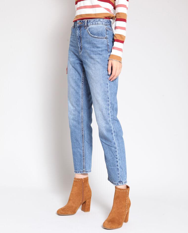 Jeans dritto a vita alta blu denim