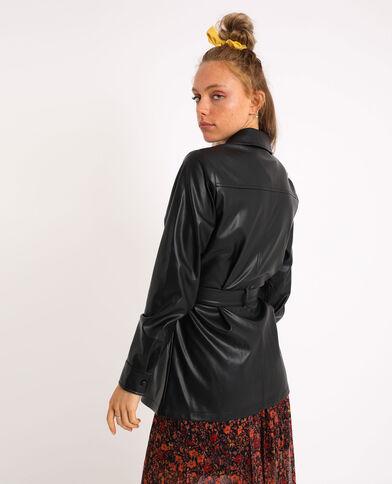 Camicia lunga in similpelle nero