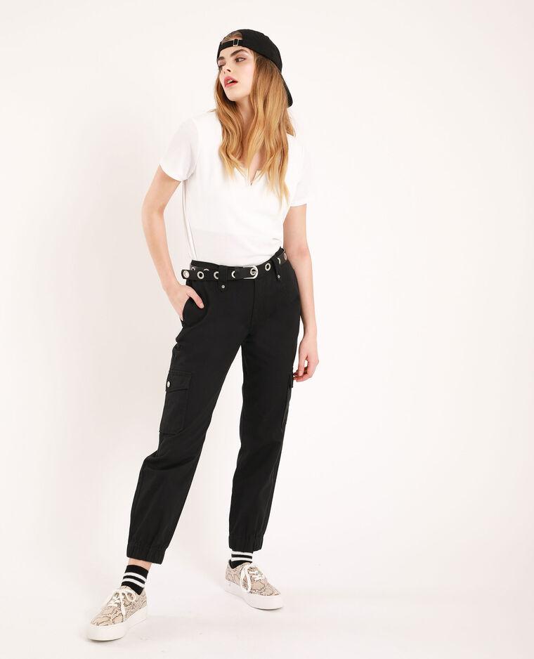T-shirt con scollatura a V bianco - Pimkie