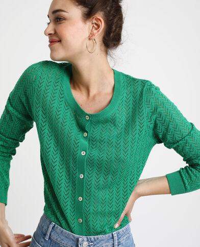 Cardigan traforato verde