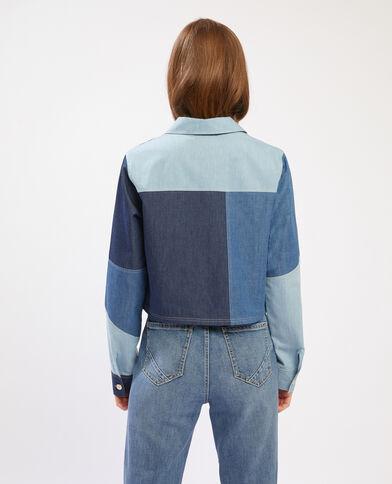 Camicia cropped denim con patch blu - Pimkie